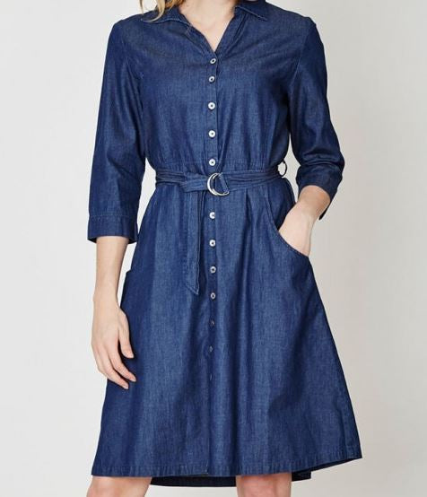 Organic Cotton Chambray Shirt Dress