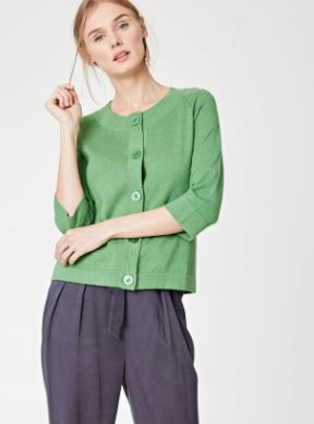 Organic Cotton/Wool Green Cardi