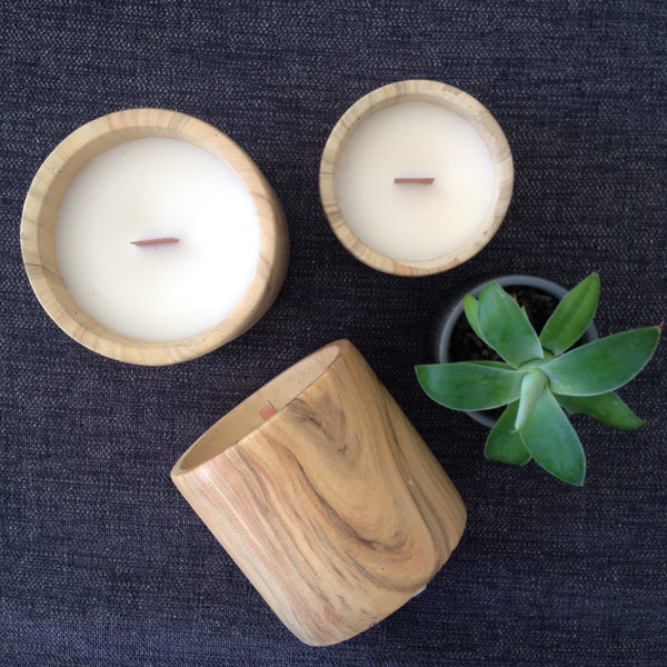 Wood look Ceramic  Candle