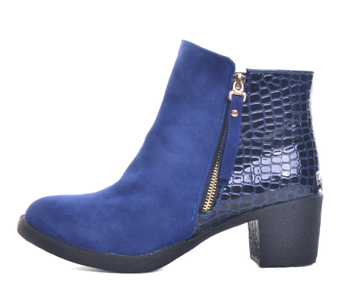 Boots - Blue - Zip Up Animal Print