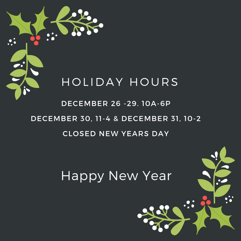 Holiday Hours for Last Week in December