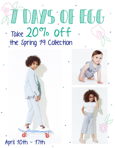 7 Days of Egg, Take 20% off Egg Baby Spring Styles
