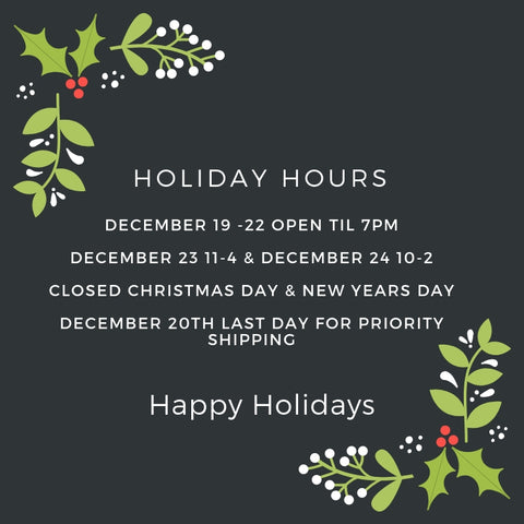 Holiday Hours & Shipping Information