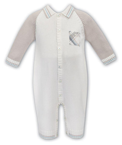 BABY BOY OUTFIT - SARAH LOUISE BABY BOYS IVORY / TAN SWEATER KNIT ROMPER