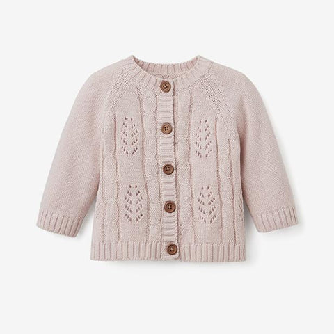 BABY KNITS - LEAF POINTELLE KNIT BABY CARDIGAN (more Colors)
