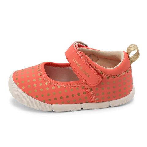 Kids Shoes - VERSY Mary Jane Coral Polka Dot