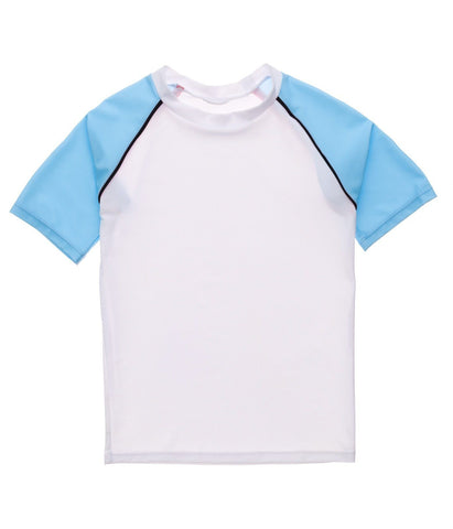 KIDS SWIMWEAR - WHITE LT BLUE SLEEVE SS RASH TOP