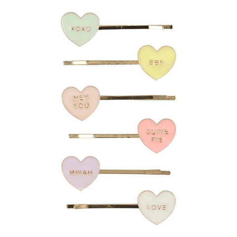 Valentine - Love Hearts Enamel Hair Slides