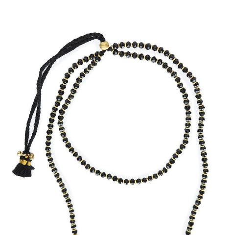 WOMEN'S JEWELRY - Layered Beaded Neckace With Brass And Adjustable Cord