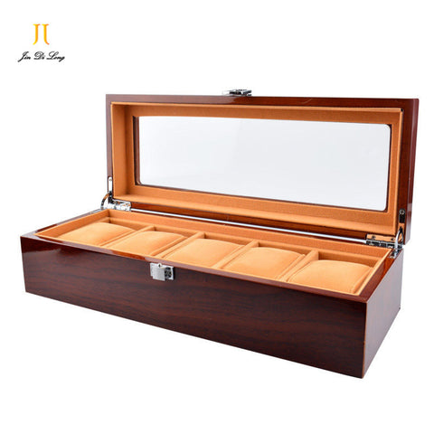 Solid Rosewood Watch Display Case - 5 Grids
