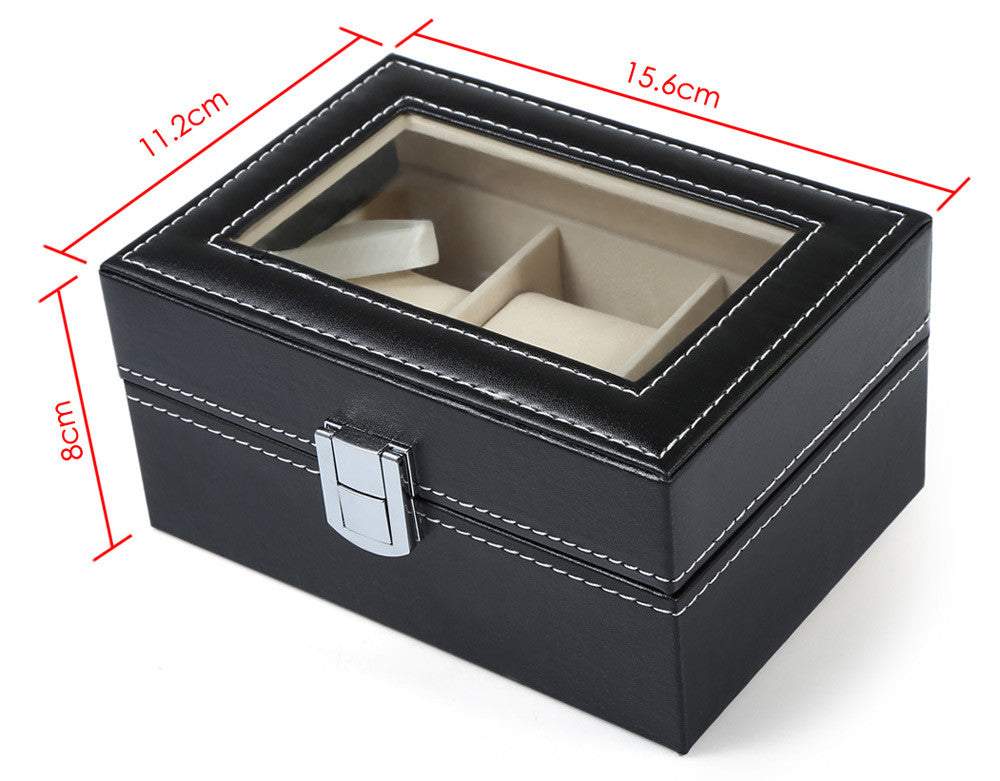 Black PVC Leather Watch Display Box - 3 Grids