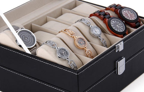Leather Watch Display Case - 20 Grids