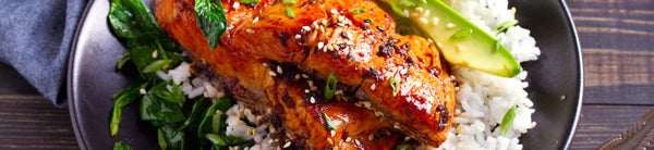 Juicy Teriyaki Salmon and Avocado