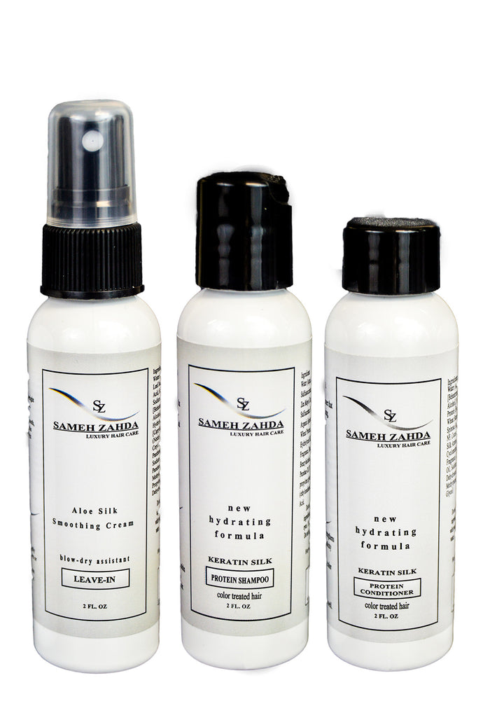 Travel Size Set - Shampoo, Conditioner, Smoothing Cream Detangler - Sameh Zahda Custom Hair Care
