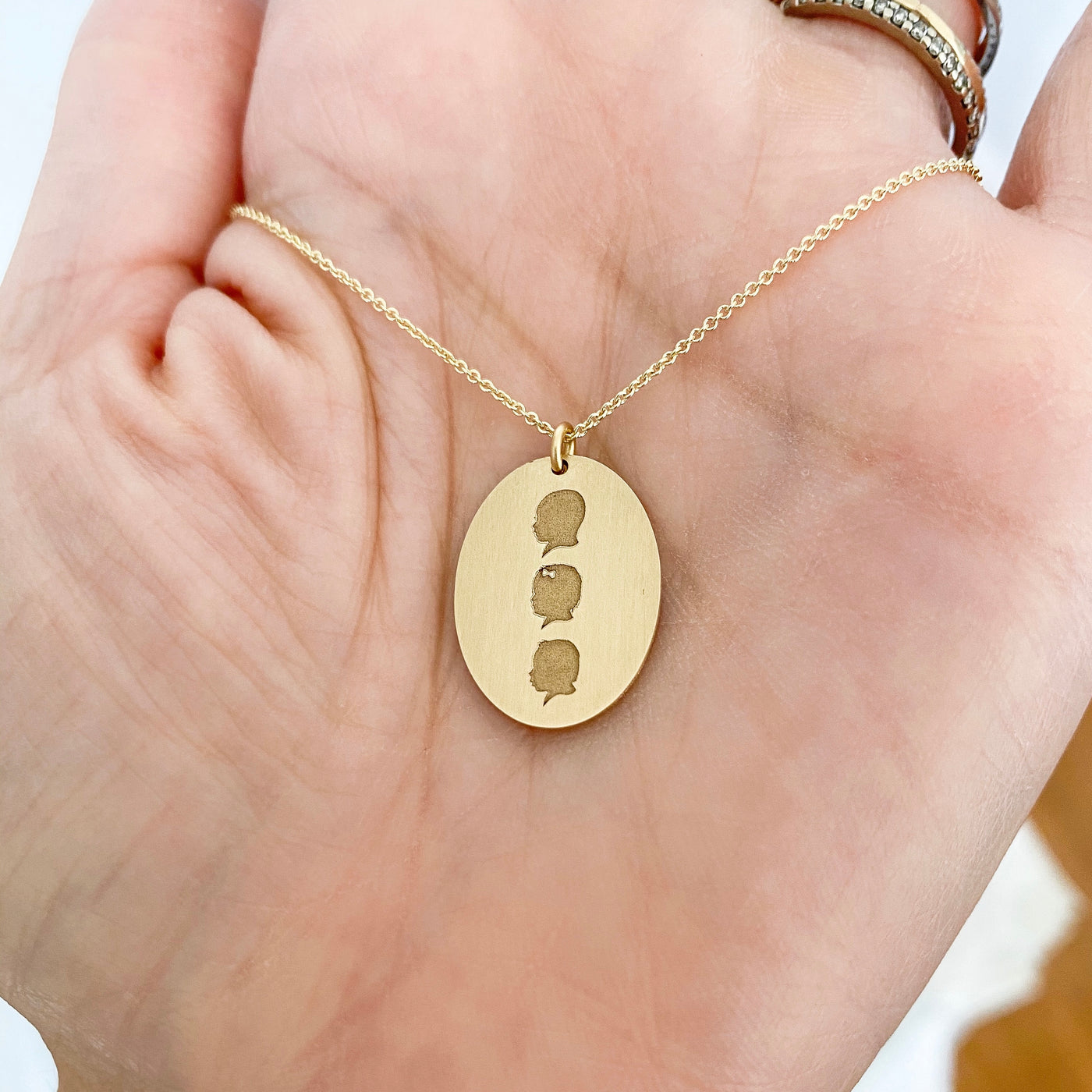 The Family Silhouette Coin Necklace