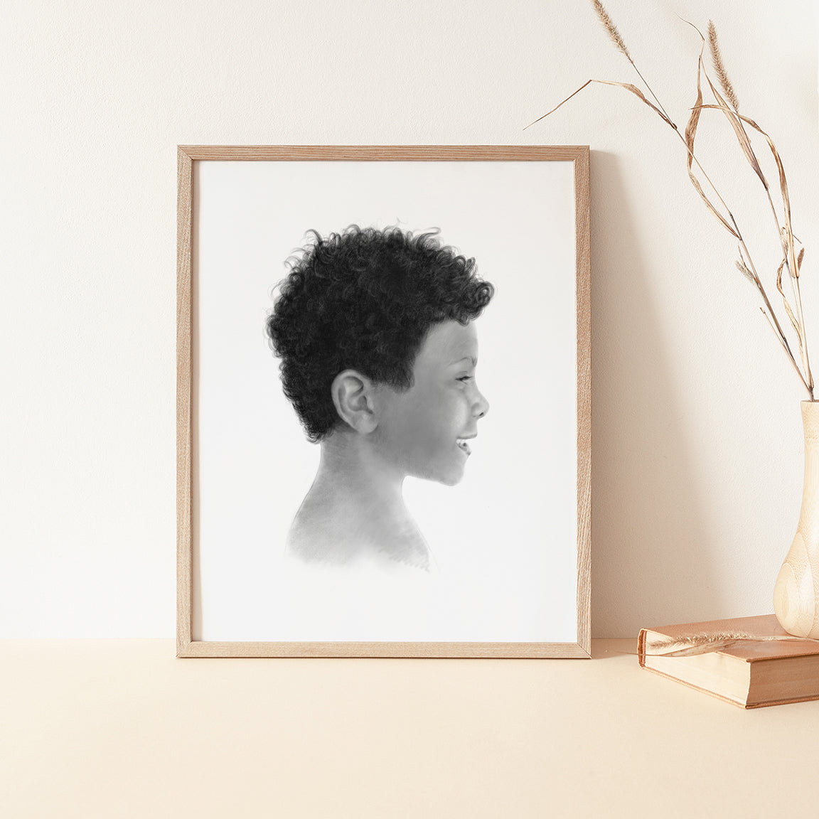 The Pastel Silhouette Portrait - Grayscale