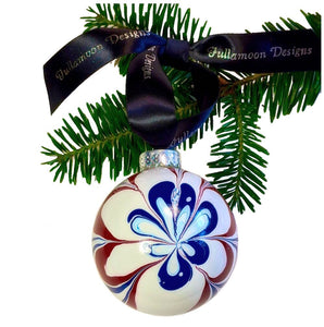 Christmas in July Ornament, 4th of July Ornament, Patriotic Ornament, Red White and Blue Ornament, Hand Painted Ornament, Newburyport Ornament