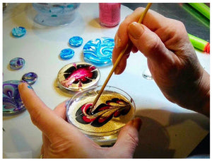 Watermarble Jewelry, Nail Polish Jewelry, Ebru Demonstration, Fullamoon Designs Demonstration