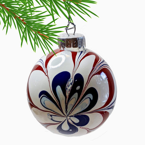 Marbled Glass Ornament, Patriotic Flower-Fullamoon Designs