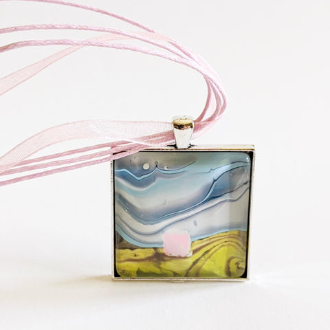 Square Pendant Necklace, Abstract Pink House, Daytime