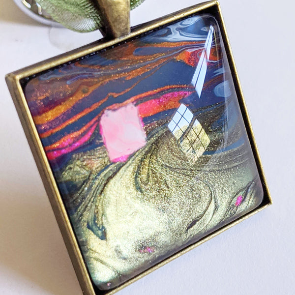 Square Pendant Necklace, Abstract Pink House, Dusk
