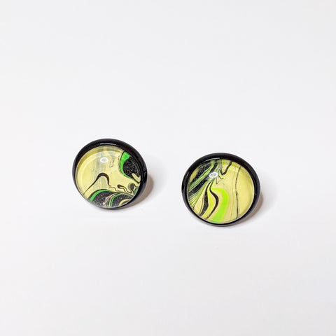 Earrings, Abstract Studs in Cheery Yellow, Green and Black