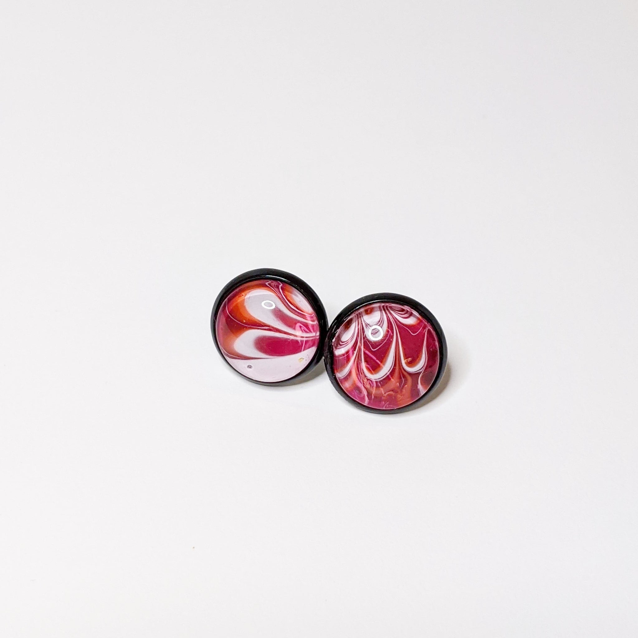 Earrings, Abstract Studs in Bright Pink, Orange and Black-Jewelry-Fullamoon Designs
