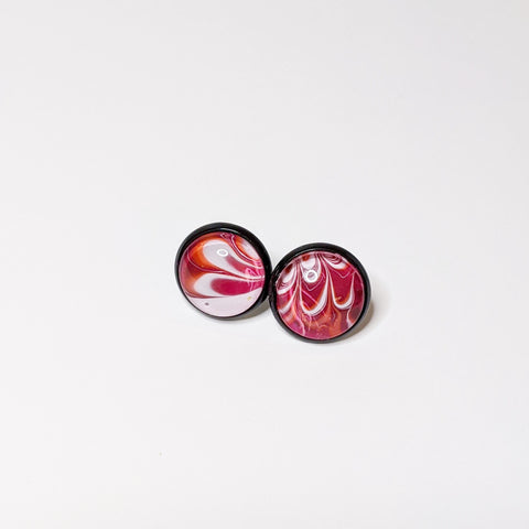 Earrings, Abstract Studs in Bright Pink, Orange and Black