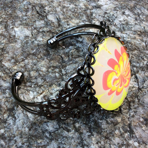 Bracelet, Neon Yellow and Hot Pink Floral-Jewelry-Fullamoon Designs