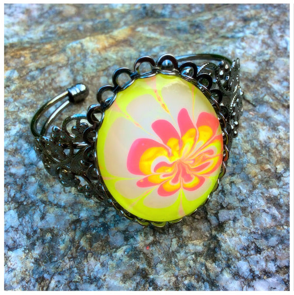 Bracelet, Neon Yellow and Hot Pink Floral