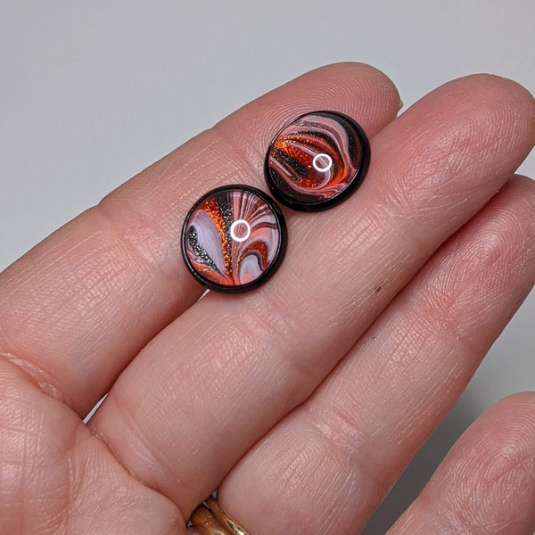 Earrings, Abstract Studs in Elegant Halloween Orange, White and Black
