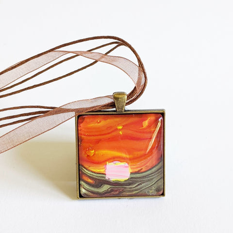 Square Pendant Necklace, Abstract Pink House, Autumn Sunset-Jewelry-Fullamoon Designs