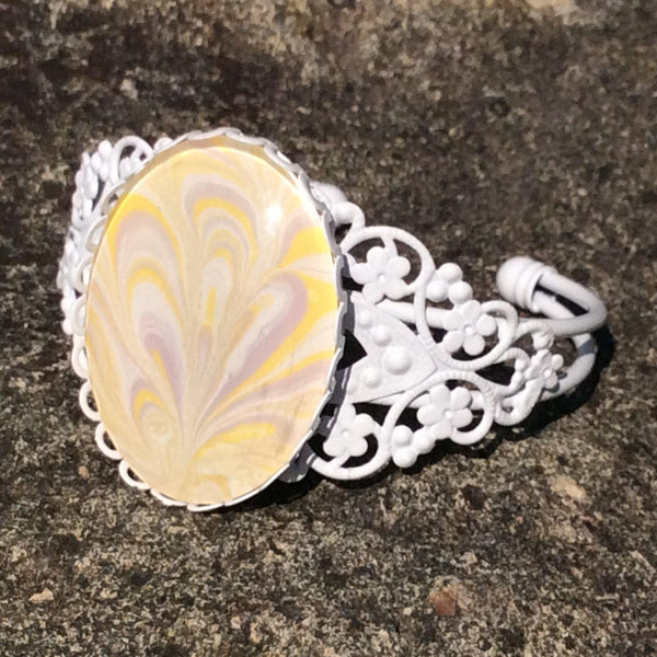 bracelet white yellow lavender abstract