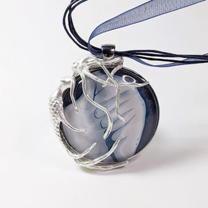 Silver Mermaid Pendant with White Conch Shell