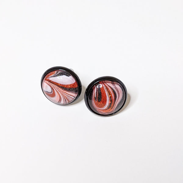 Earrings, Abstract Studs in Elegant Halloween Orange, White and Black-Jewelry-Fullamoon Designs
