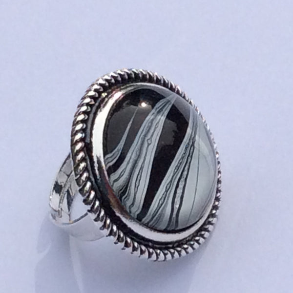 Ring, Zebra Inspired, Safari Style, Black White and Silver-Jewelry, Rings-Fullamoon Designs