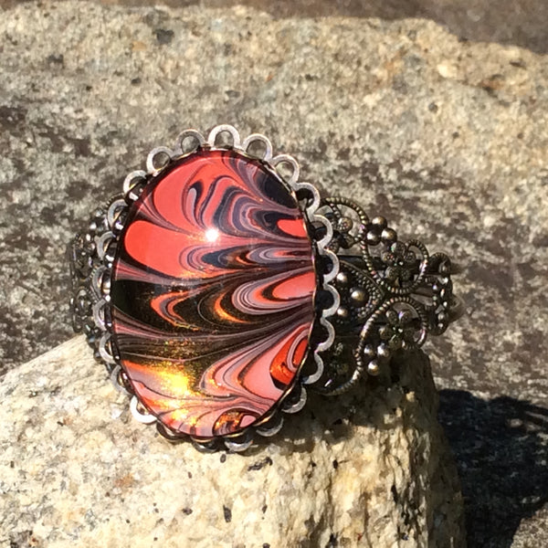 Bracelet, Swirls of Black and Tomato Red
