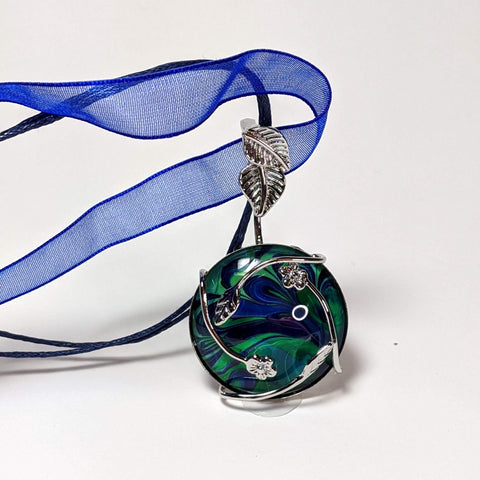 Moonflower Drop Pendant Necklace, Blue & Green-Jewelry-Fullamoon Designs