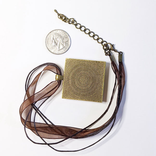back view of square pendant necklace