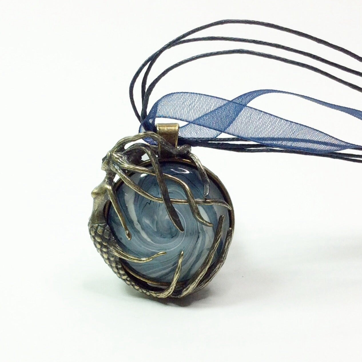 Pendant Necklace, Mermaid on Swirly Blue Wave-Jewelry-Fullamoon Designs