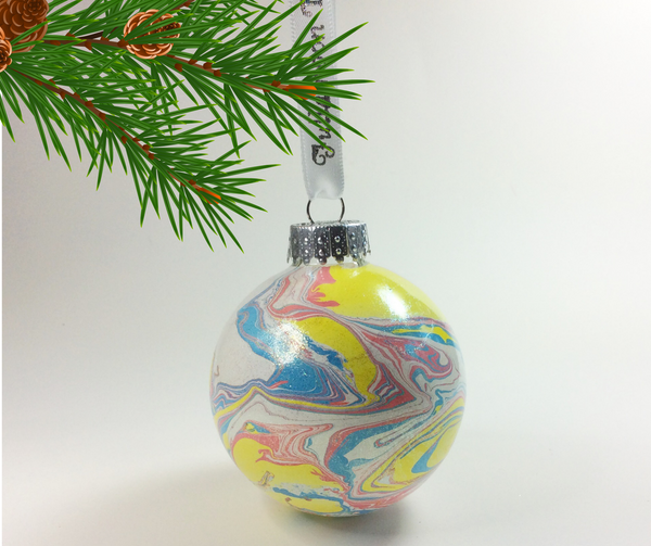 Marbled Glass Ornament, Baby Galaxy