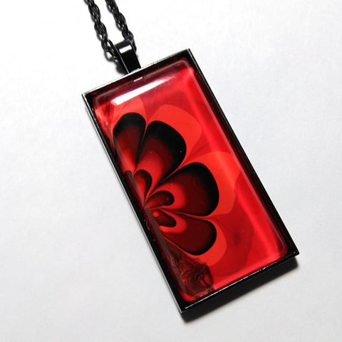 Rectangle Pendant Necklace, Red & Black Flower Power