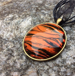"Necklace, Tiger Stripe Safari Pendant, 1-5/8"" Round"
