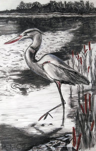 Heron #3-Fine Art Prints-Fullamoon Designs