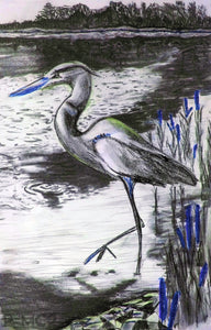 Heron #3-Blue-Fine Art Prints-Fullamoon Designs