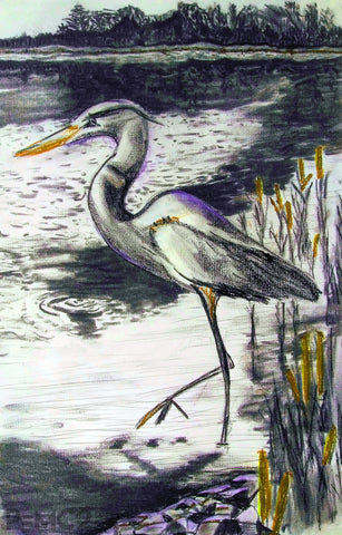 Heron #3-Gold-Fine Art Prints-Fullamoon Designs