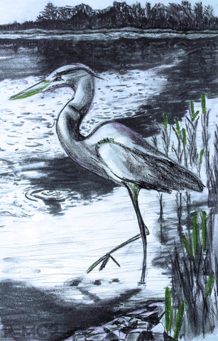 Heron #3-Green-Fine Art Prints-Fullamoon Designs