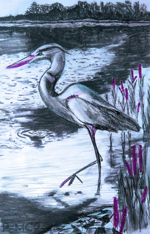 Heron #3-Purple-Fine Art Prints-Fullamoon Designs