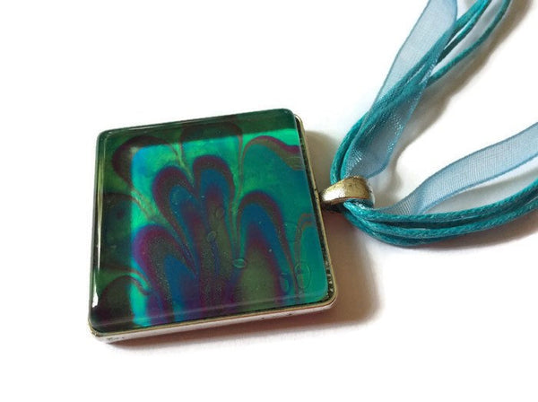 Square Pendant Necklace, Aqua Green-Jewelry-Fullamoon Designs
