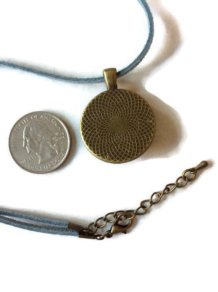 Round Pendant Necklace, Blue and Black-Jewelry-Fullamoon Designs